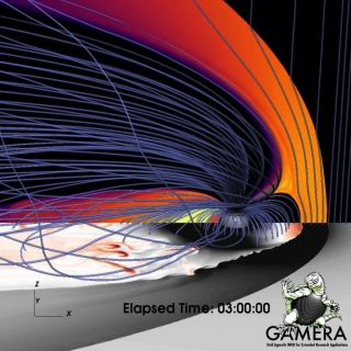 An image from a magnetohydrodynamic simulation by the Gamera project at the Johns Hopkins Applied Physics Laboratory shows bursty flows (in red and brown) in the plasma sheet.