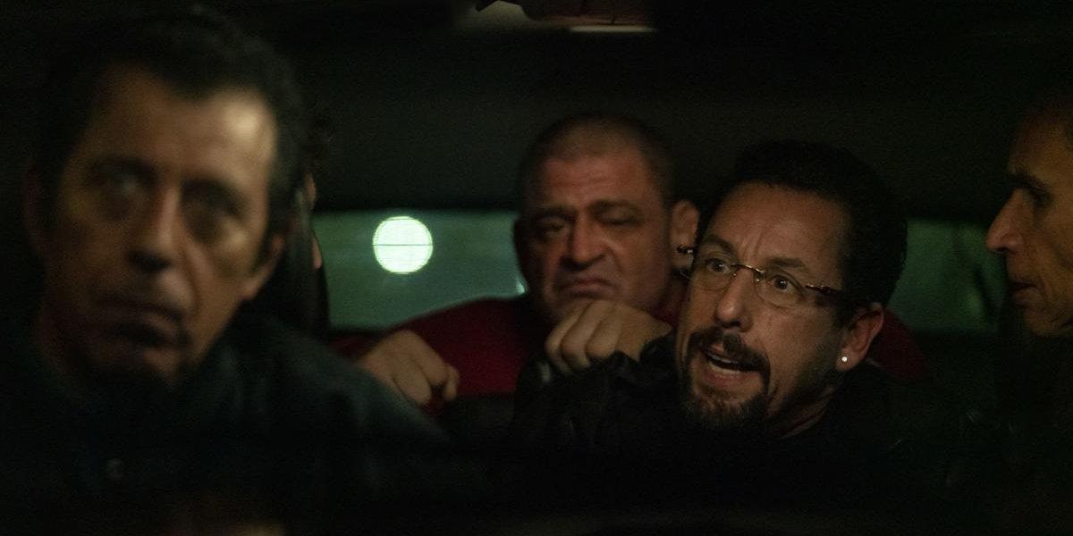 Uncut Gems Adam Sandler captive in a car with Eric Bogosian
