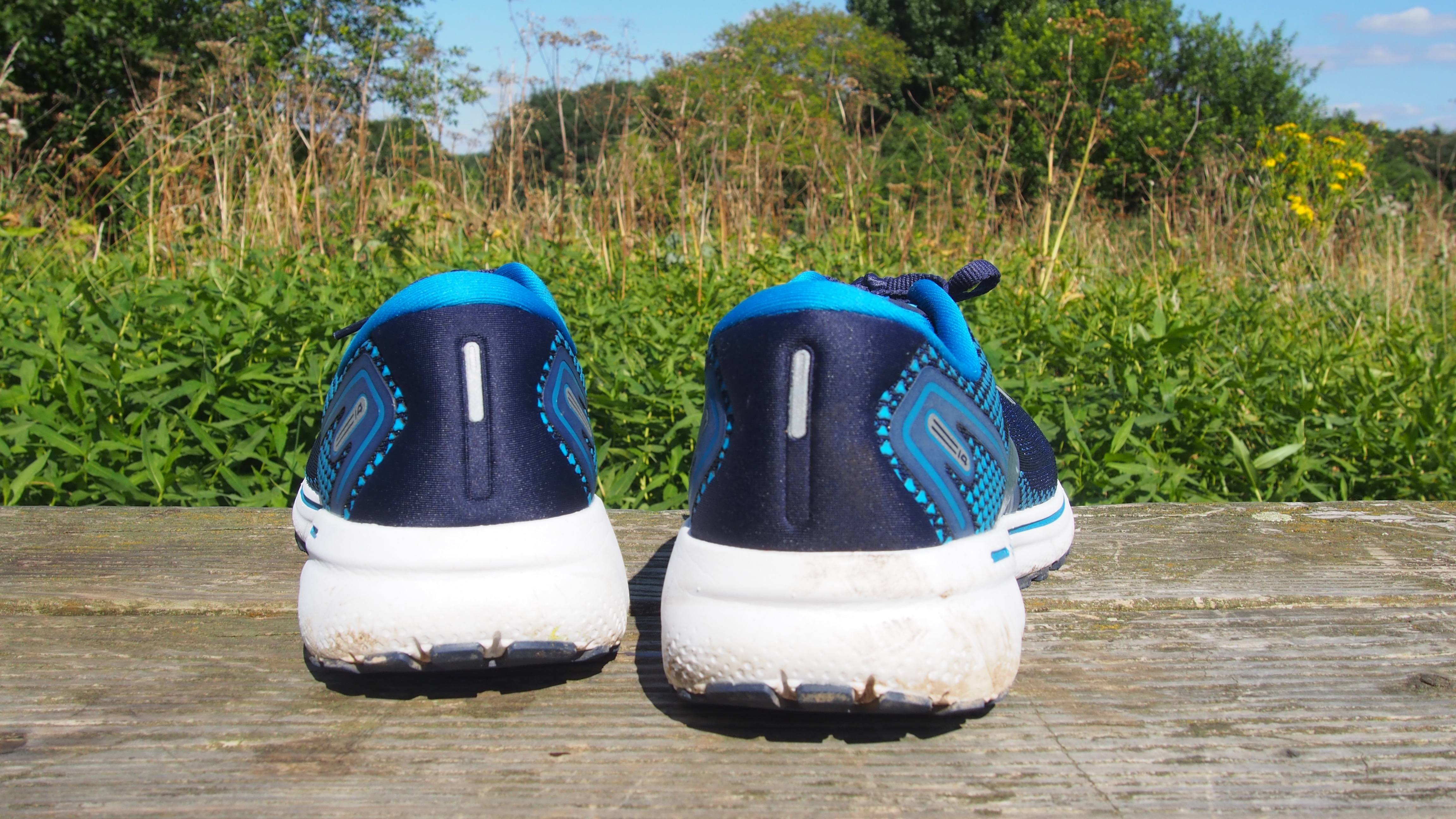 Pair of Brooks Ghost 14 running shoes, viewed from behind