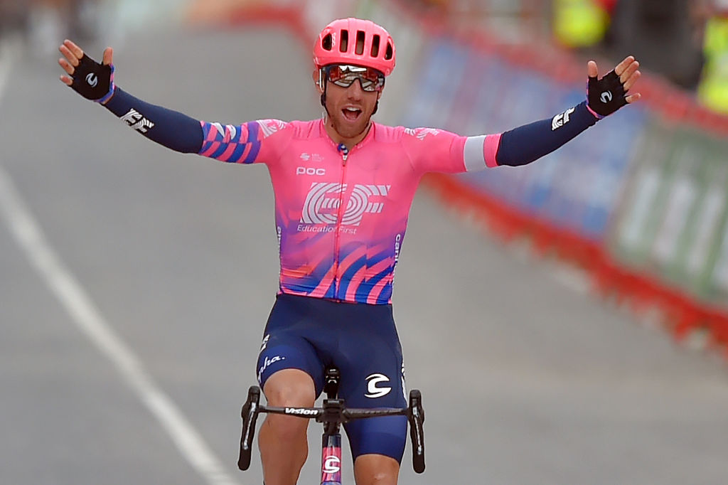 Team Education First rider Canadas Michael Woods celebrates as he crosses the finishline of the 7th stage of the 2020 La Vuelta cycling tour of Spain a 1597 km race from VitoriaGasteiz to Villanueva de Valdegovia on October 27 2020 Photo by ANDER GILLENEA AFP Photo by ANDER GILLENEAAFP via Getty Images