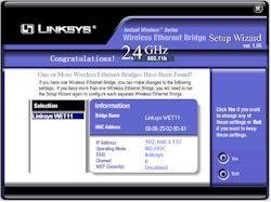 linksys wet11 setup software