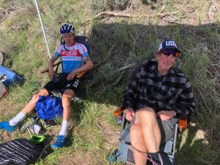 US MTB cross-country national champion Keegan Swenson (Stan's No Tubes/Pivot Pro Team p/b Maxxis) recovers from his 'Everest Challenge' alongside his father
