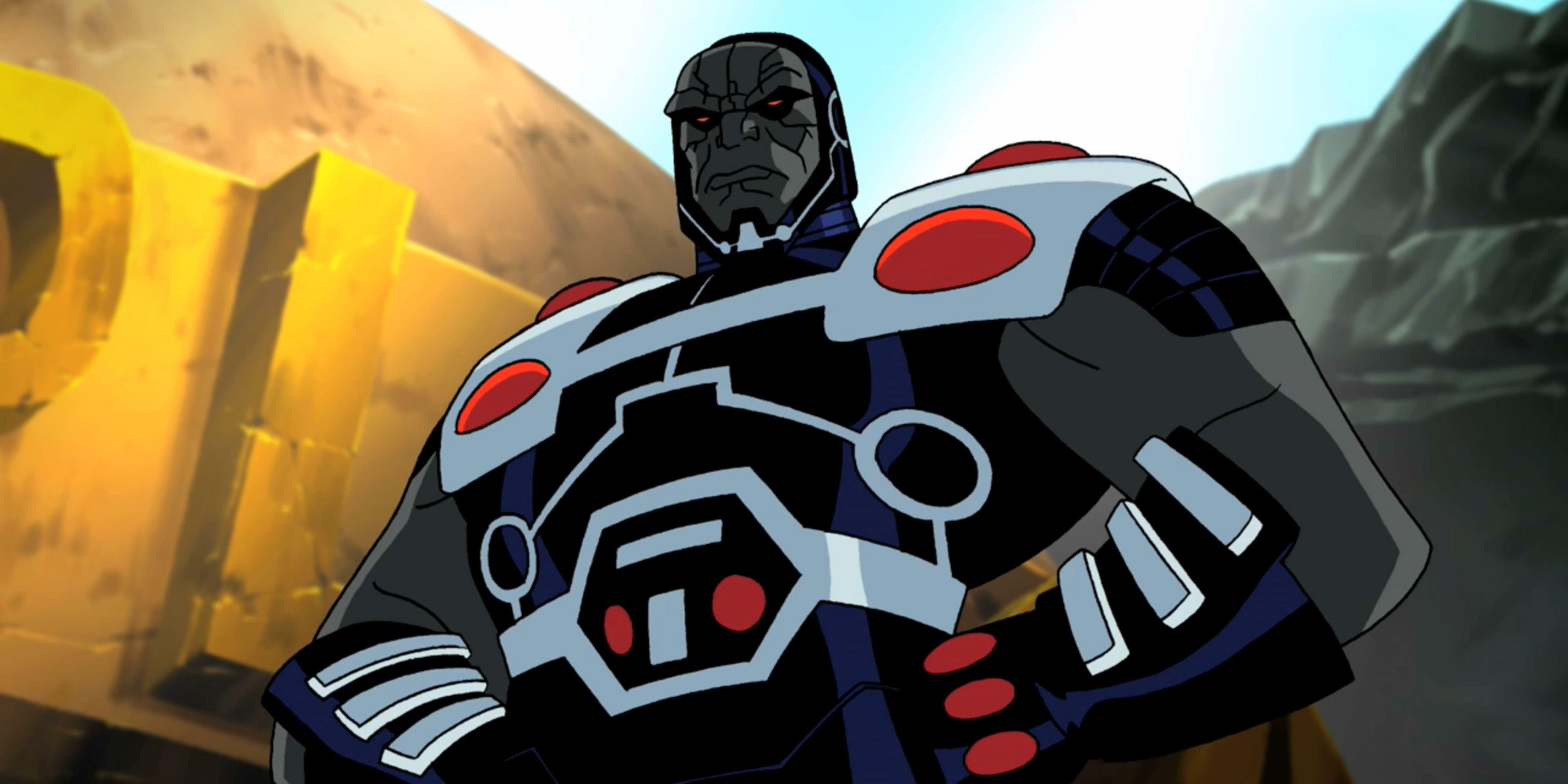 Darkseid stands menacing over Earth.