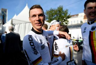Tony Martin (Germany) after winning the team time trial mixed relay at the UCI Road World Championships
