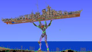 An image of a custom terraria map that is an homage to Neon Genesis Evangelion.