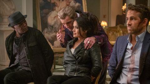 Samuel L. Jackson, Antonio Banderas, Salma Hayek, and Ryan Reynolds in 'Hitman's Wife's Bodyguard'.