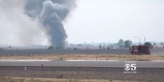 A small plane crashed near the town of Madras, Oregon, sparking a small fire.