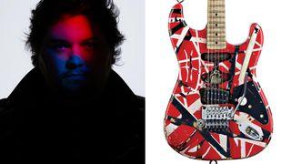 Wolfgang Van Halen (left), and a replica of Eddie Van Halen's legendary Frankenstein guitar