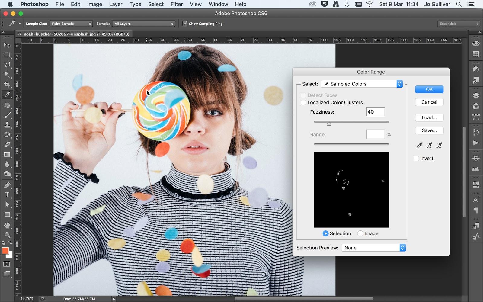 colour range tool in Photoshop