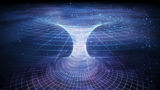 Artistic depiction of a tunnel or wormhole over curved space-time.
