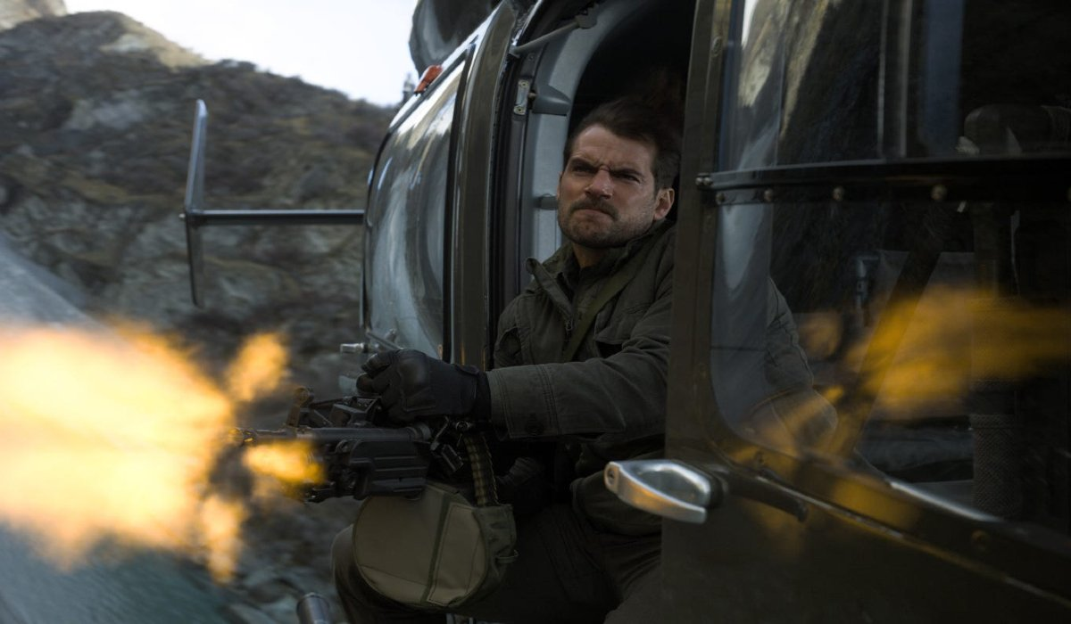 Henry Cavill fires off a gatling gun from a helicopter in Mission: Impossible - Fallout