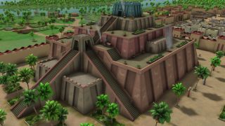 An image of an ancient city from the game Sumerians.