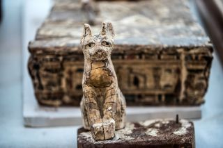 This cat statue, along with many others, was discovered in a tomb discovered at Saqqara in Egypt.