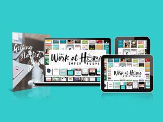 Laptops and tablets displaying the Work At Home super bundle landing page