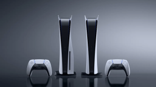 Sony press material showcasing the PS5 Digital Edition and PS5 side by side.