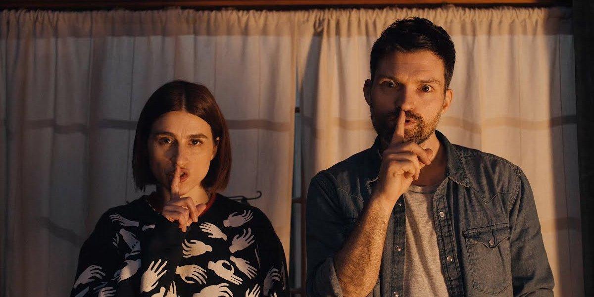 Aya Cash and Josh Ruben in Scare Me