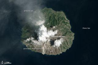 Paluweh volcano (also known as Rokatenda) eruption Indonesia.