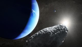An artist's illustration of Neptune's smallest moon Hippocamp in orbit around the gas giant. It's just 20 miles across.