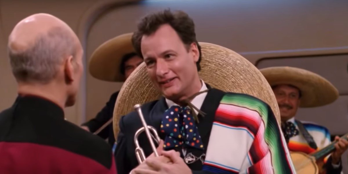 Q playing trumpet in a mariachi band Star Trek: The Next Generation