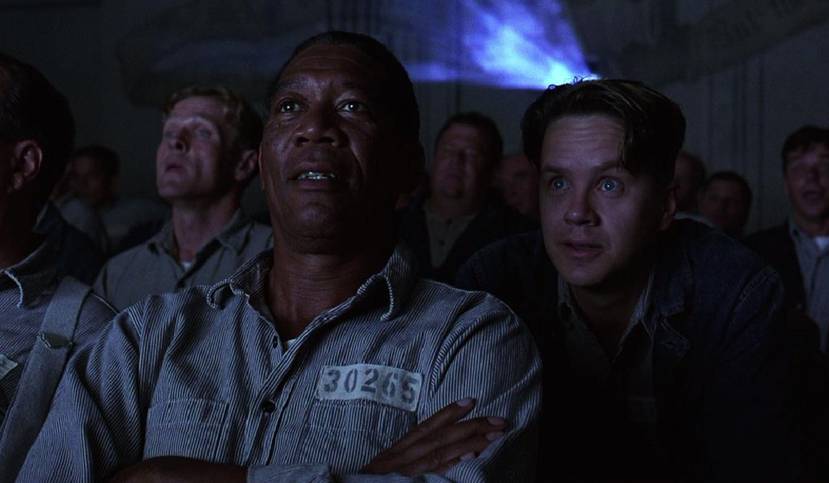 The Shawshank Redemption Morgan Freeman and Tim Robbins talking during the movie