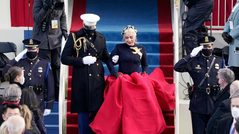 Lady Gaga arrives to sing the National Anthem during the the 59th inaugural ceremony on the West Front of the U.S. Capitol on January 20, 2021 in Washington, DC.