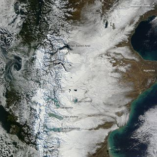 Snow covers southern Patagonia in this NASA satellite image taken on May 30, 2012.