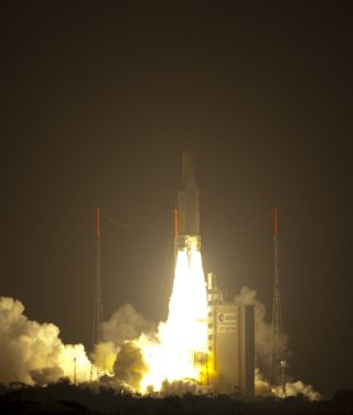 Photo of Europe's ATV-2 Johannes Kepler cargo ship launching toward the International Space Station