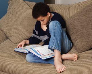 A boy reads a textbook at home.