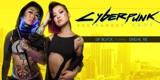 A poster for Cyberpunk 2077 XXX Parody