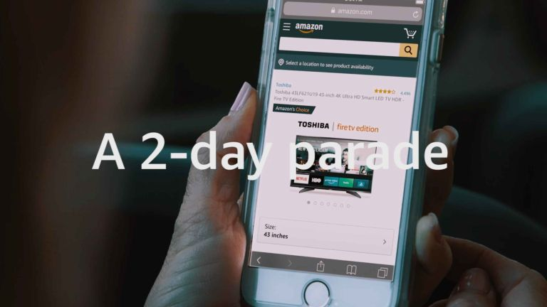 Amazon Prime Day: video screenshot reading 2 day parade