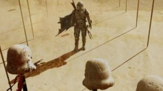 "Conceptual artwork showing the installation ""Stromtrooper on Spike"" by the Tuskan Art Appreciation Society in Mos Eisley."