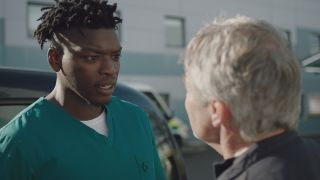 Mason confronts Mark outside the ED in Casualty