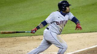 José Ramírez of the Cleveland Indians gets a hit