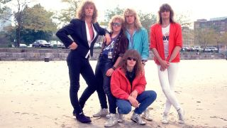 A press shot of Helloween in 1987