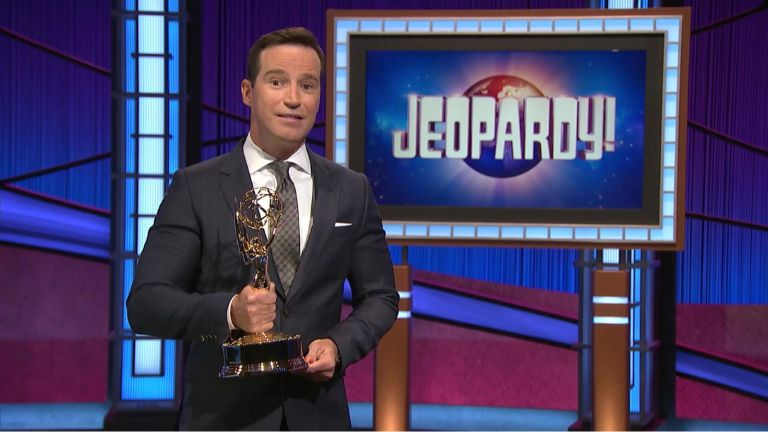 In this screenshot released on June 25, Mike Richards accepts the award for Outstanding Game Show for Jeopardy! during the 48th Annual Daytime Emmy Awards broadcast on June 25, 2021.