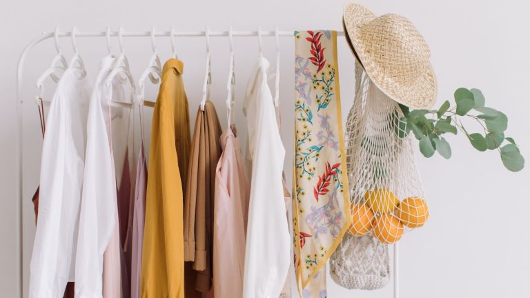 clothes on a hanging rail