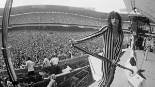Steven Tyler of Aerosmith performs live on stage at RFK Stadium in Washington DC, USA on 30th May 1976
