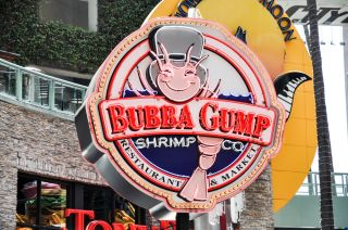 The sign outside a Bubba Gump Shrimp Co. restaurant at the Universal Studios Hollywood theme park in Universal City, California.