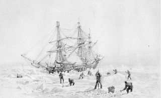 An engraving shows the HMS Terror stuck in the Arctic ice.