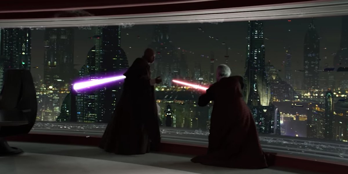 Palpatine in a lightsaber duel with Mace Windu