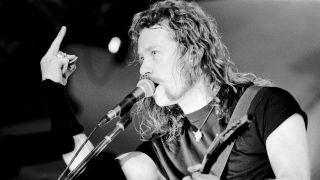 Metallica's James Hetfield forging metal in the 1990s