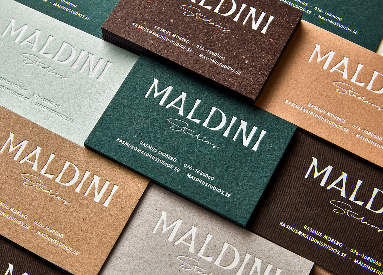 letterpress business cards: Maldini Studios