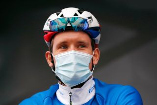 BOLLÈNE, FRANCE - MARCH 11: Start / Podium / Arnaud Demare of France and Team Groupama - FDJ during the 79th Paris - Nice 2021, Stage 5 a 200km stage from Vienne to Bollène / Mask / Covid safety measures / Team Presentation / #ParisNice / on March 11, 2021 in Bollène, France. (Photo by Bas Czerwinski/Getty Images)