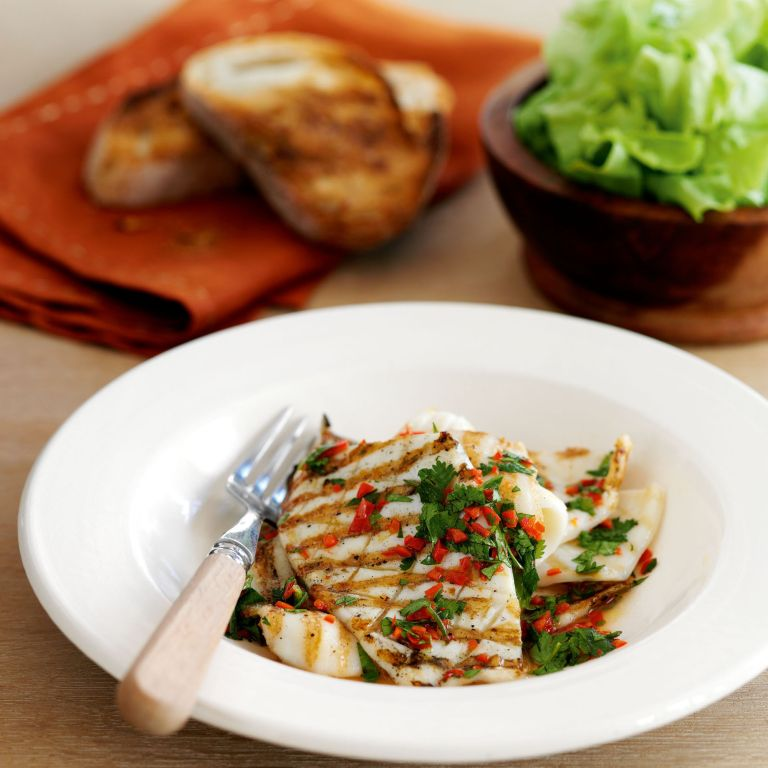 Squid with Chilli Lime and Coriander Dressing recipe-recipe ideas-new recipes-woman and home
