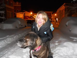 Katherine and Beau in snow