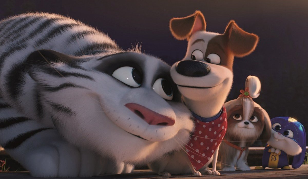 The Secret Life of Pets 2 a white tiger nuzzles Max, with friends by his side