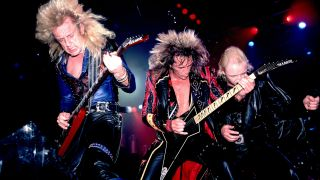 KK Downing, Glenn Tipton and Rob Halford of Judas Priest on 6/11/84 in Chicago, IL