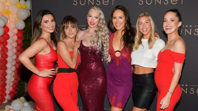 "(L-R) Christine Quinn, Davina Potratz, Heather Raye Young, and cast attend Netflix's ""Selling Sunset"" Private Viewing Party on March 22, 2019 in West Hollywood, California."