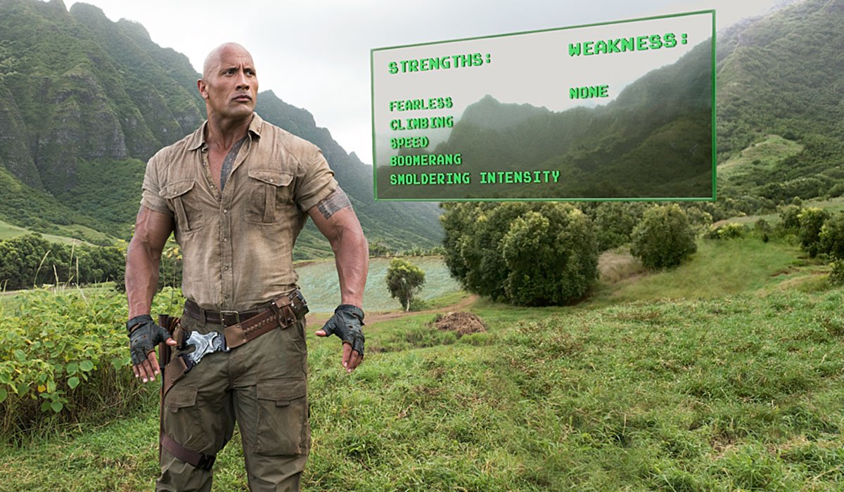 The Rock with a list of strengths and weaknesses in Jumanji.