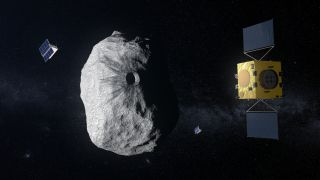 An artist's depiction of the Hera mission at the binary asteroid Didymos.